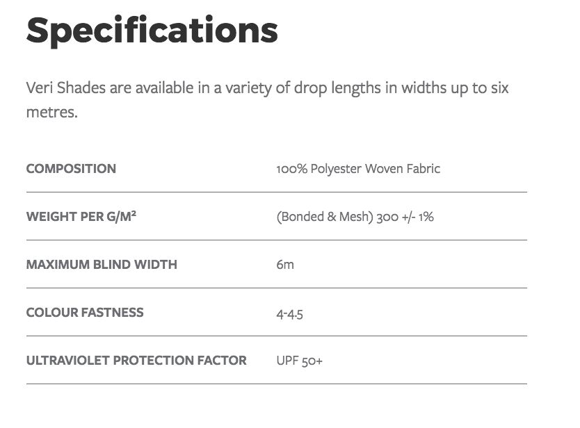 Veri Shades Specifications